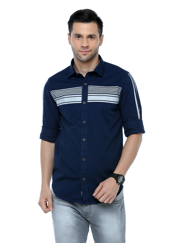 ADNOX Men's Designer Plain Full Sleeve Cotton Slim Fit Shirt (Navy Blue)