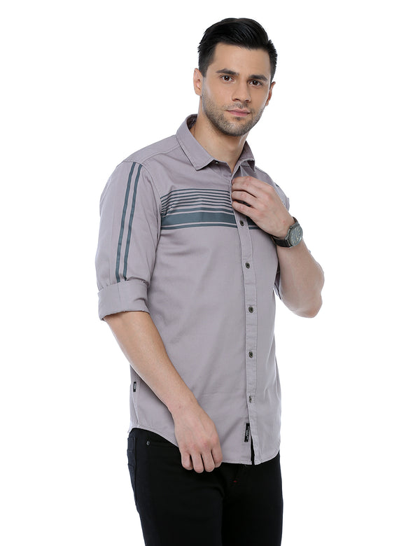 ADNOX Men's Designer Plain Full Sleeve Cotton Slim Fit Shirt (Light Khaki)