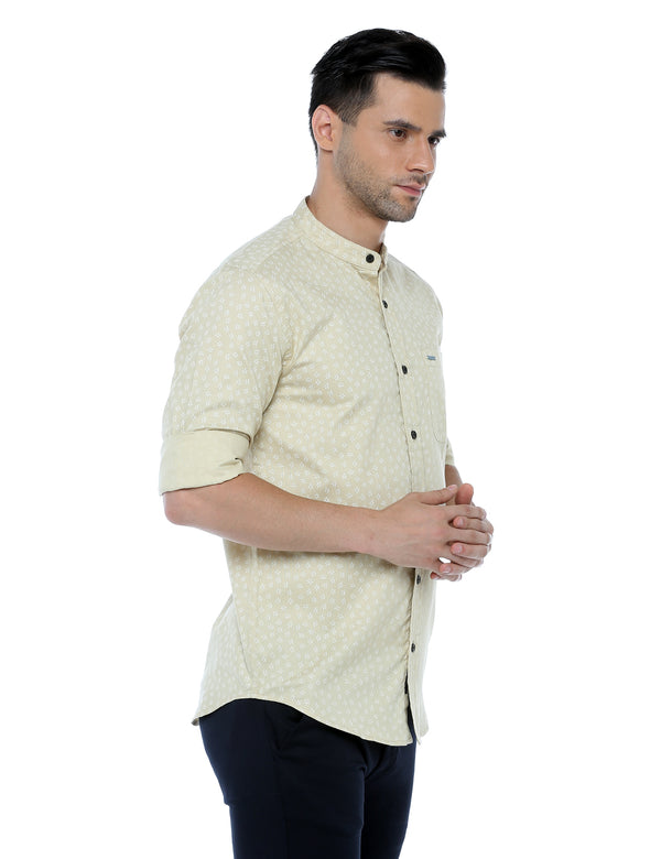ADNOX Printed Casual Full Sleeve Slim Fit Cotton Shirt for Men (Beige)