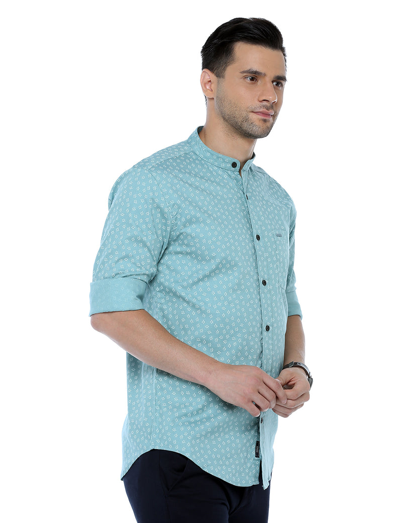 ADNOX Printed Casual Full Sleeve Slim Fit Cotton Shirt for Men (Aqua Blue)