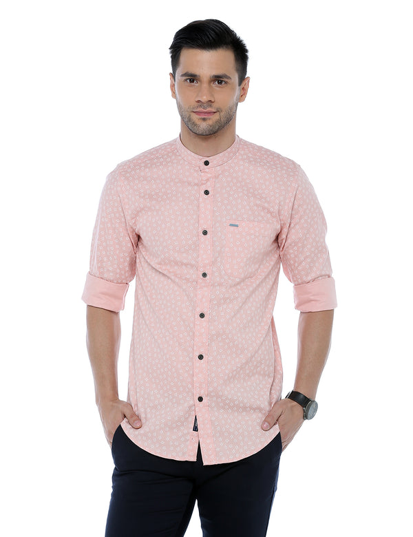 ADNOX Printed Casual Full Sleeve Slim Fit Cotton Shirt for Men (Peach)