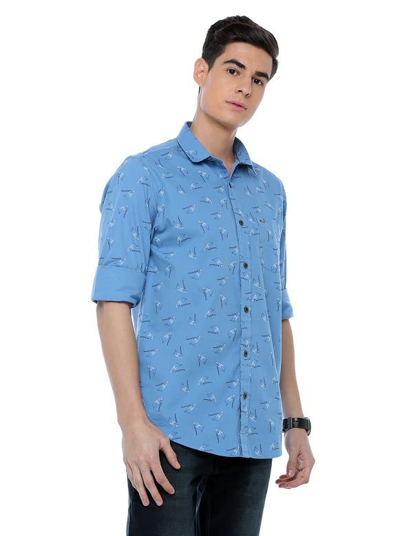 ADNOX Printed Full Sleeve Cotton Slim Fit Casual Shirt for Men