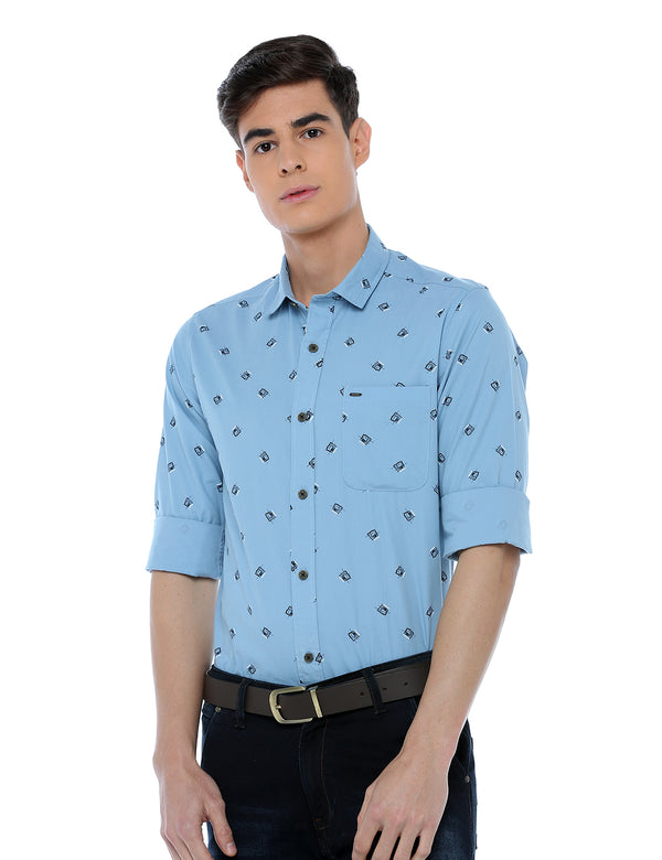 ADNOX Printed Full Sleeve Casual Cotton Slim Fit Shirt for Men