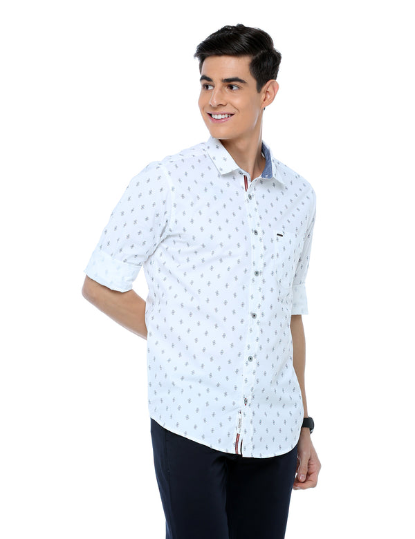 ADNOX Printed Casual Slim Fit Full Sleeve Cotton Shirt for Men