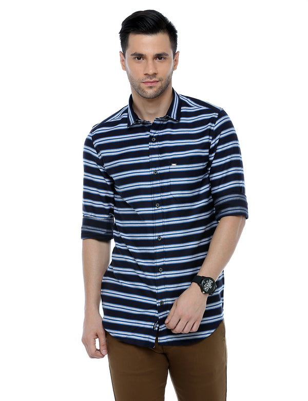 ADNOX Striped Casual Full Sleeve Slim Fit Cotton Shirt for Men