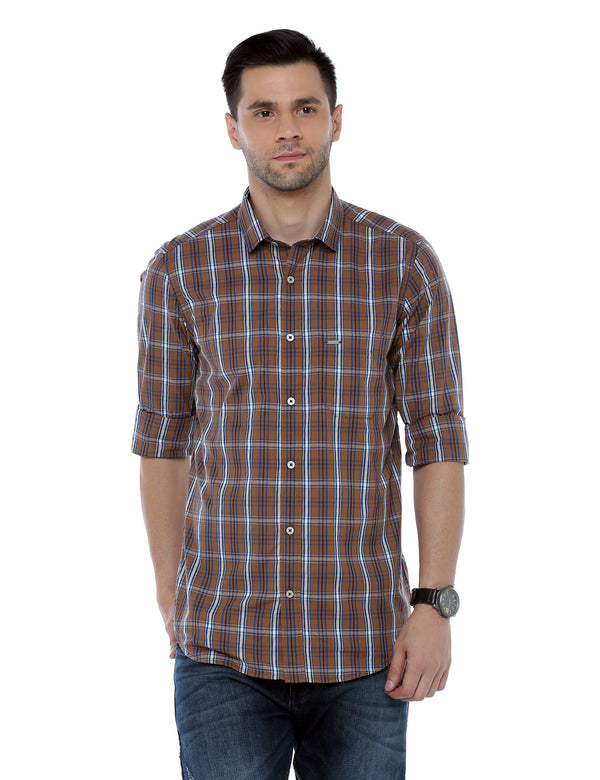 ADNOX Checkered Slim Fit Cotton Full Sleeve Casual Shirt for Men
