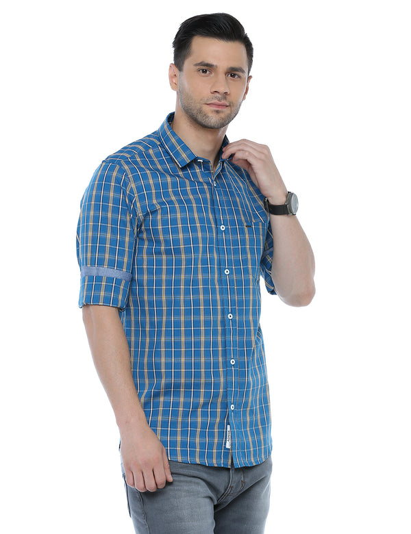 ADNOX Men's Checkered Full Sleeve Casual Slim Fit Shirt (Petrol Blue)