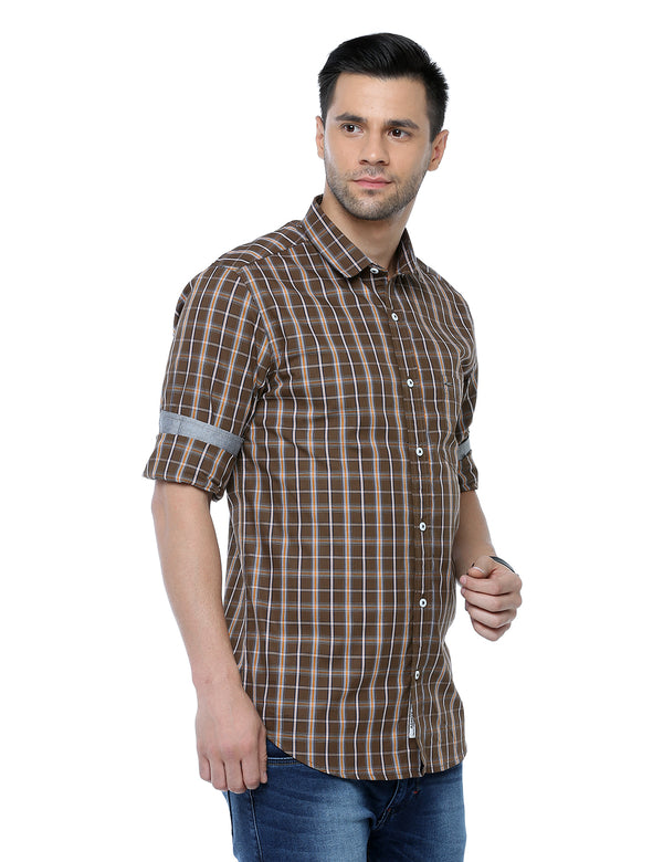 ADNOX Men's Checkered Full Sleeve Casual Slim Fit Shirt (Brown)