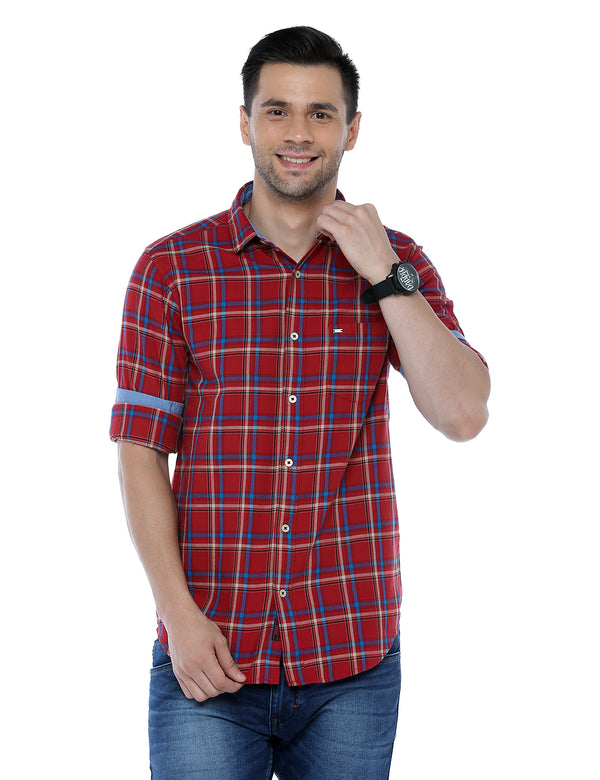 ADNOX Checkered Full Sleeve Slim Fit Casual Shirt for Men (Red)