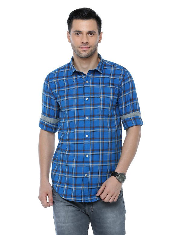 ADNOX Checkered Full Sleeve Slim Fit Casual Shirt for Men (Royal Blue)