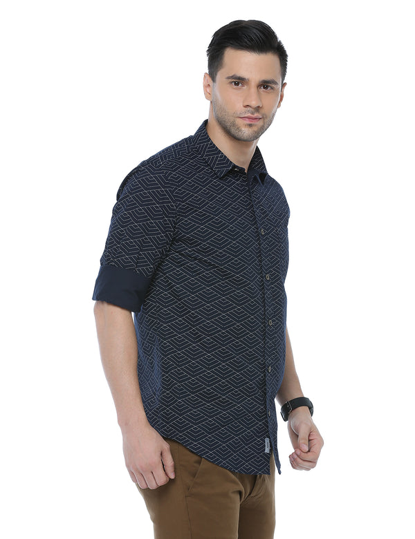 ADNOX Printed Casual Slim Fit Cotton Full Sleeve Shirt for Men