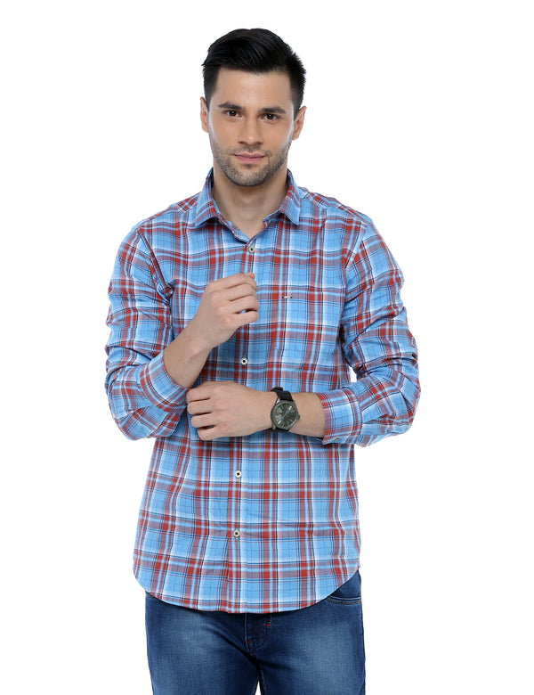 ADNOX Checkered Slim Fit Full Sleeve Casual Shirt for Men (Red in Blue)
