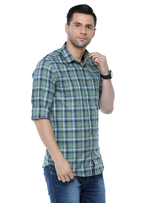 ADNOX Checkered Full Sleeve Casual Slim Fit Cotton Shirt
