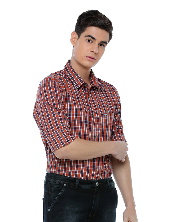 ADNOX Men's Casual Checkered Full Sleeve Slim Fit Cotton Shirt