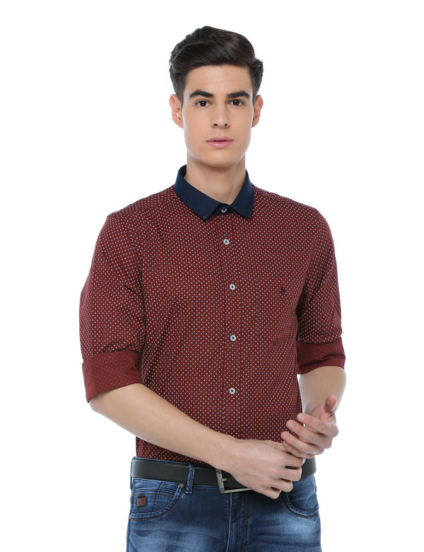 ADNOX Men's Printed Casual Full Sleeve Cotton Slim Fit Shirt (Maroon)