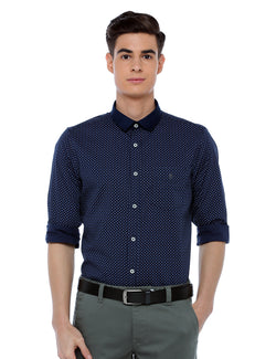 ADNOX Men's Printed Casual Full Sleeve Cotton Slim Fit Shirt (Navy Blue)