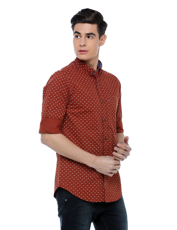ADNOX Men's Printed Full Sleeve Casual Cotton Slim Fit Shirt