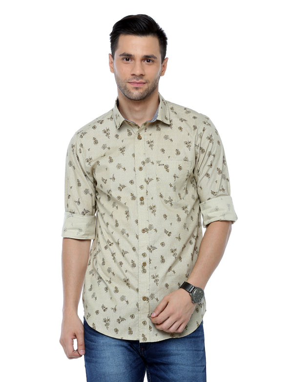 ADNOX Floral Printed Casual Full Sleeve Slim Fit Shirt for Men