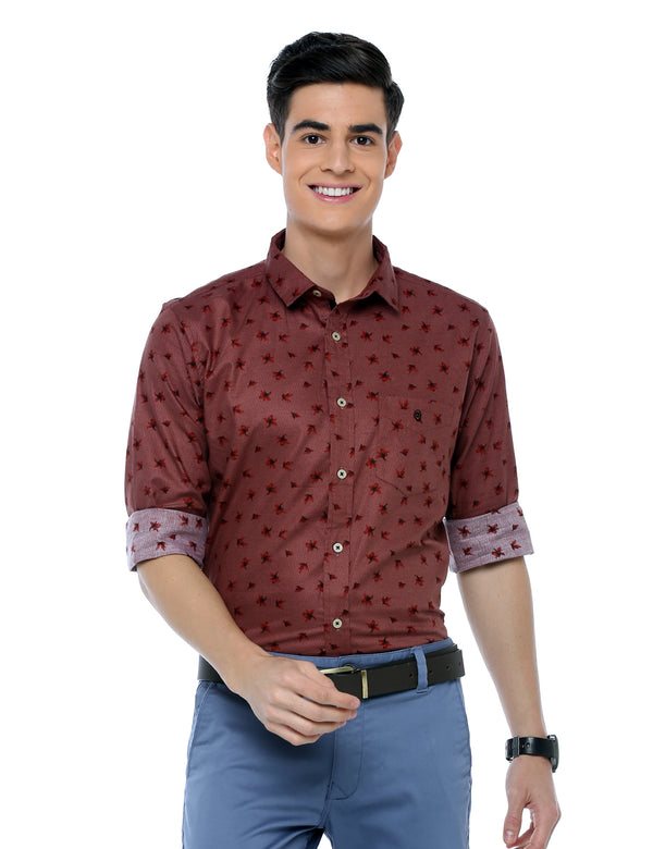 ADNOX Men's Printed Casual Cotton Full Sleeve Slim Fit Shirt (Maroon)