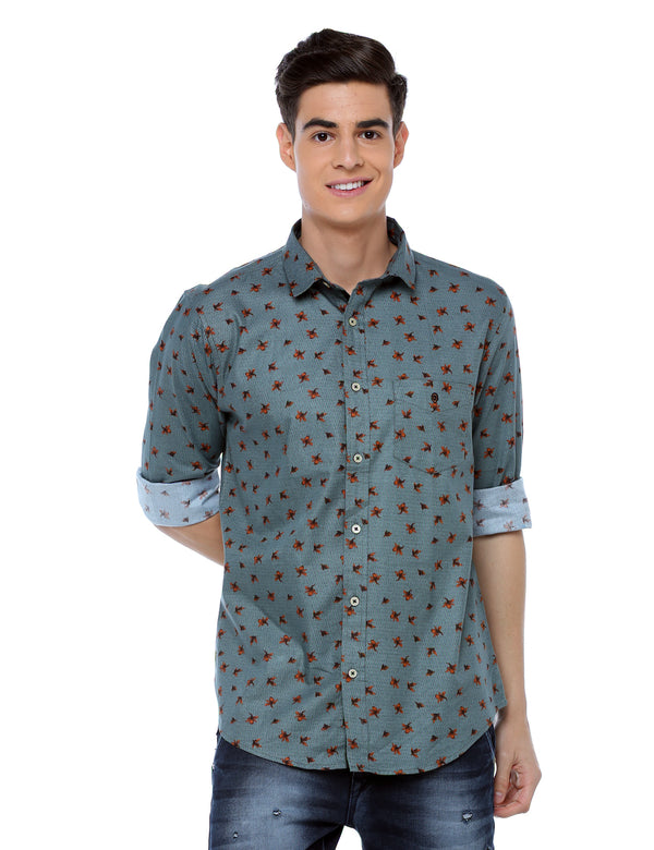 ADNOX Men's Printed Casual Cotton Full Sleeve Slim Fit Shirt (Bluish Grey)