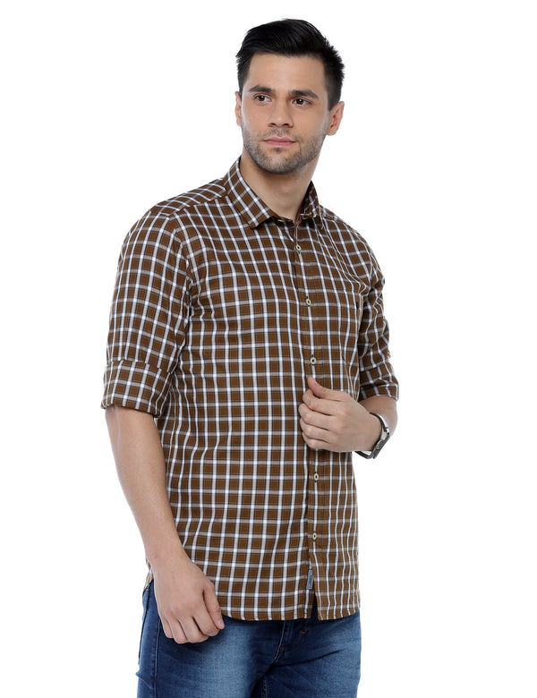 ADNOX Checkered Slim Fit Casual Full Sleeve Cotton Shirt for Men