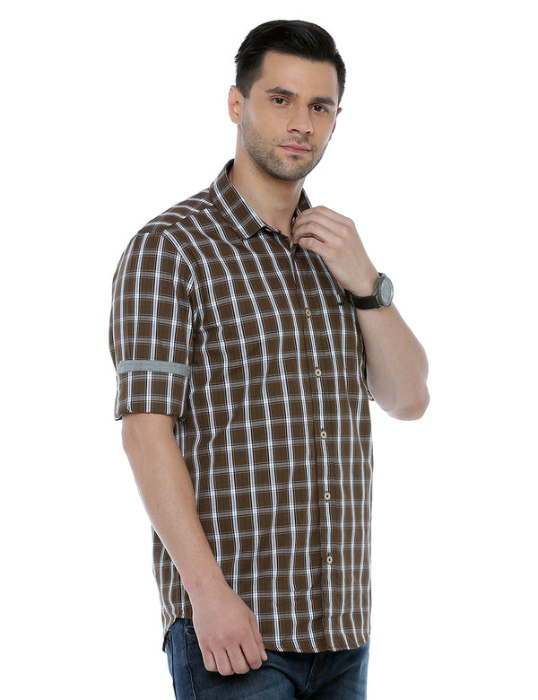 ADNOX Men's Checkered Full Sleeve Slim Fit Casual Cotton Shirt (Olive Green)