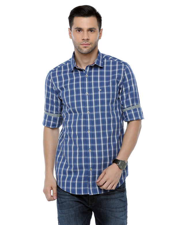 ADNOX Men's Checkered Full Sleeve Slim Fit Casual Cotton Shirt (Air Force Blue)