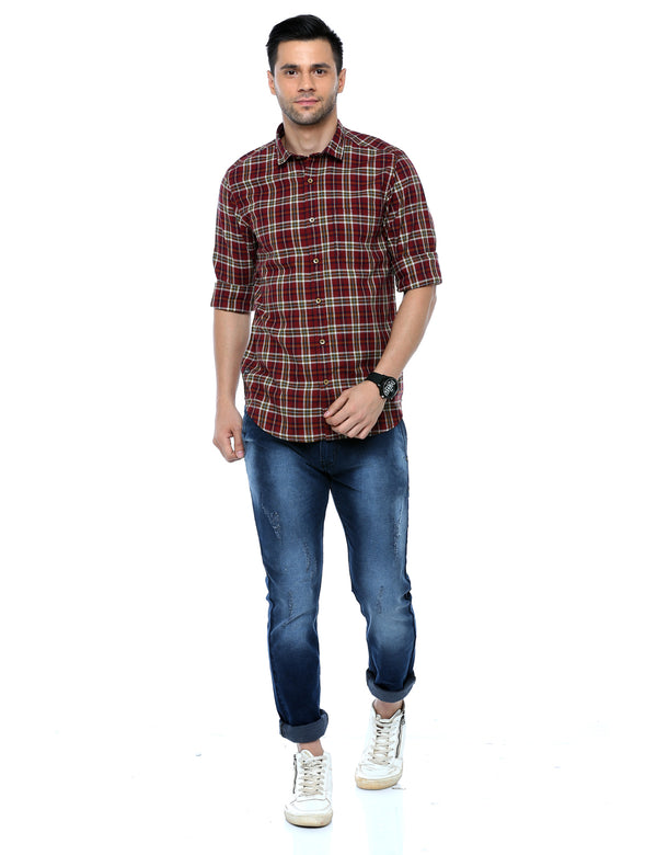 ADNOX Checkered Casual Slim Fit Full Sleeve Cotton Shirt for Men