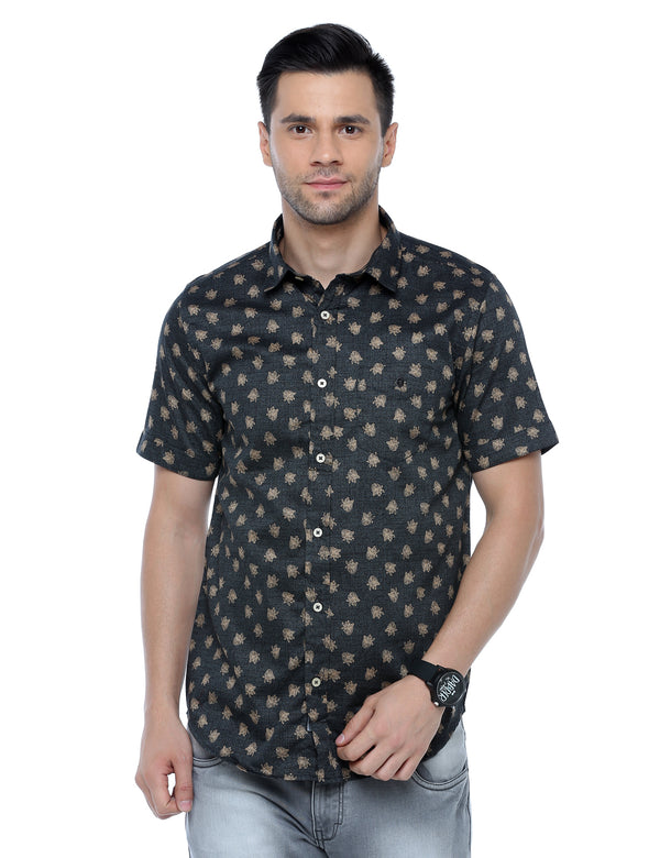 ADNOX Satin Floral Printed Half Sleeve Cotton Slim Fit Shirt