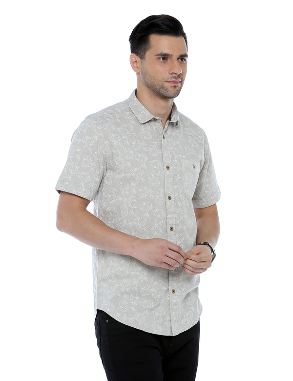 ADNOX Cotton Linen Printed Half Sleeve Casual Slim Fit Shirt
