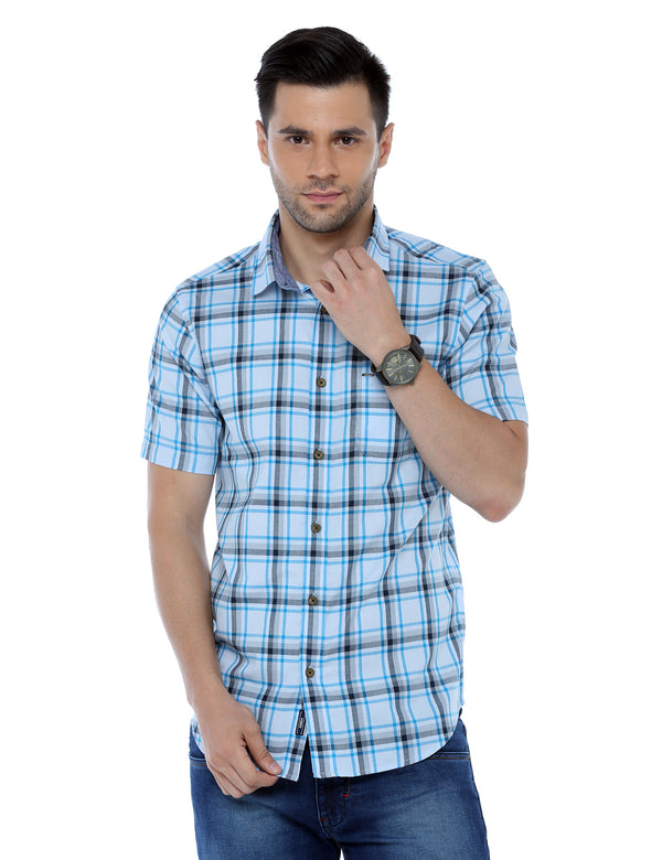ADNOX Checkered Half Sleeve Casual Cotton Slim Fit Shirt for Men
