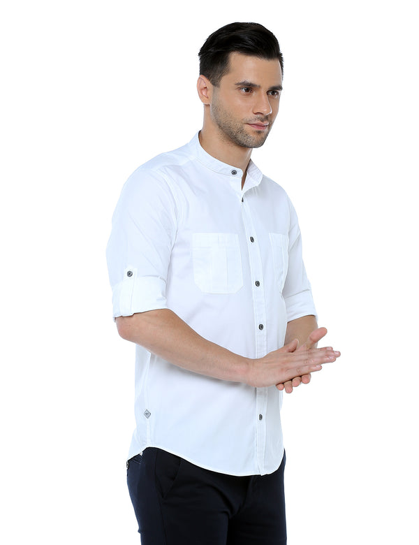 ADNOX Lycra Plain Casual Full Sleeve Cotton Slim Fit Shirt for Men