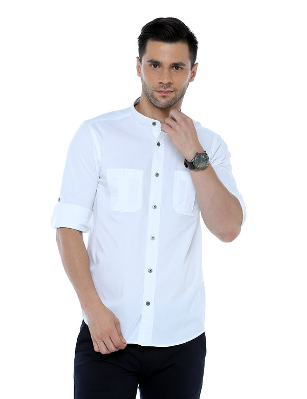 ADNOX Men's Lycra Cotton Solid Casual Slim Fit Shirt (White)