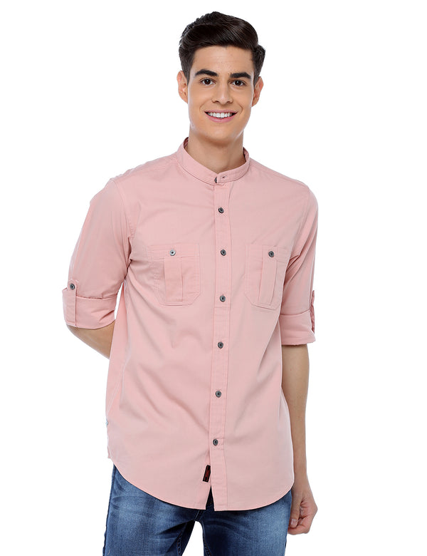 ADNOX Men's Lycra Cotton Solid Casual Slim Fit Shirt (Peach)