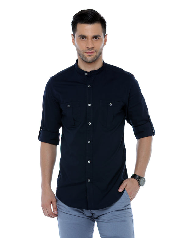 ADNOX Men's Lycra Cotton Solid Casual Slim Fit Shirt (Navy Blue)