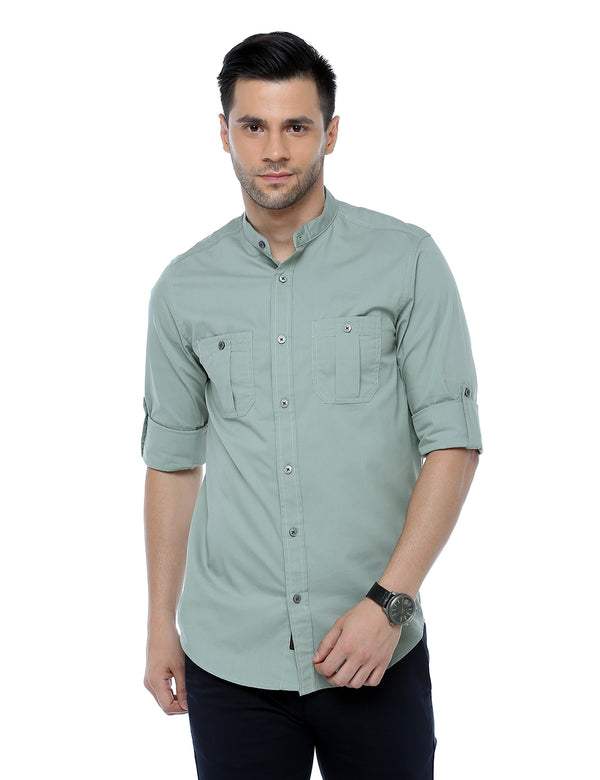 ADNOX Men's Lycra Cotton Solid Casual Slim Fit Shirt (Pastel Green)