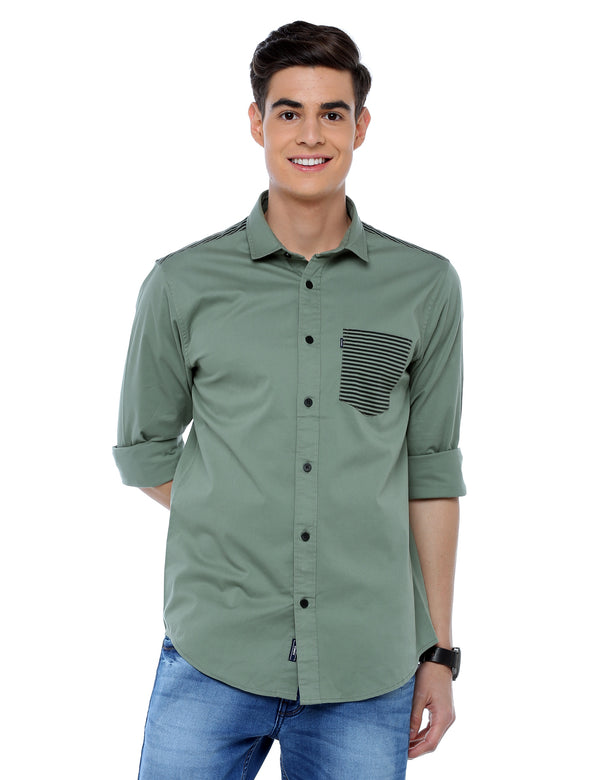 ADNOX Designer Plain Full Sleeve Cotton Slim Fit Shirt for Men (Olive Green)