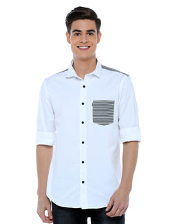 ADNOX Designer Plain Full Sleeve Cotton Slim Fit Shirt for Men (White)