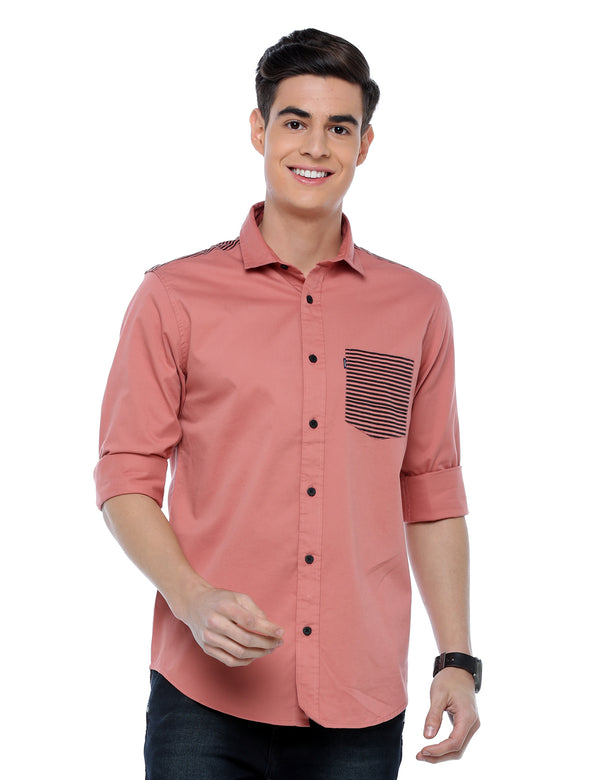 ADNOX Designer Plain Full Sleeve Cotton Slim Fit Shirt for Men (Peach)