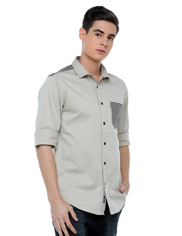 ADNOX Designer Plain Full Sleeve Cotton Slim Fit Shirt for Men (Light Khaki)