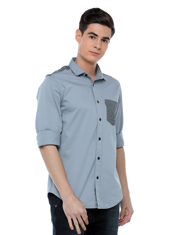 ADNOX Designer Plain Full Sleeve Cotton Slim Fit Shirt for Men (Silver Grey)