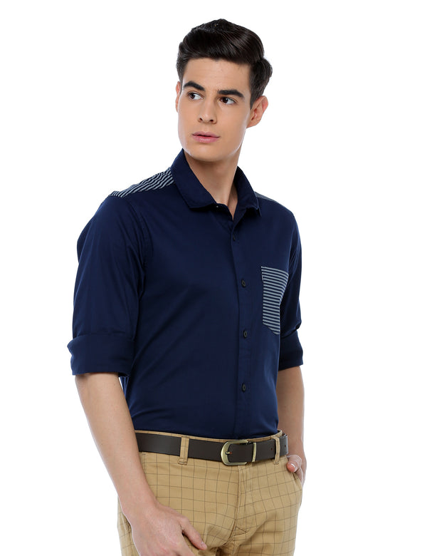 ADNOX Designer Plain Full Sleeve Cotton Slim Fit Shirt for Men (Navy Blue)