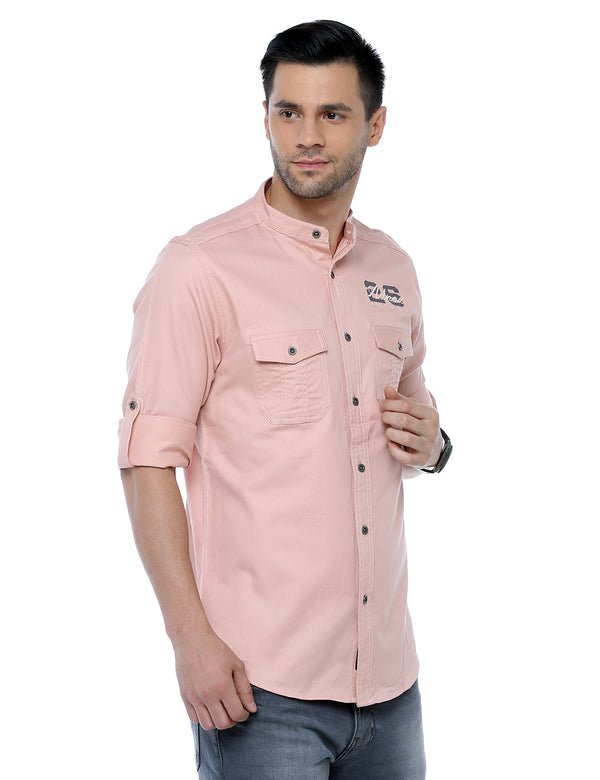ADNOX Designer Plain Casual Full Sleeve Cotton Slim Fit Shirt for Men (Peach)