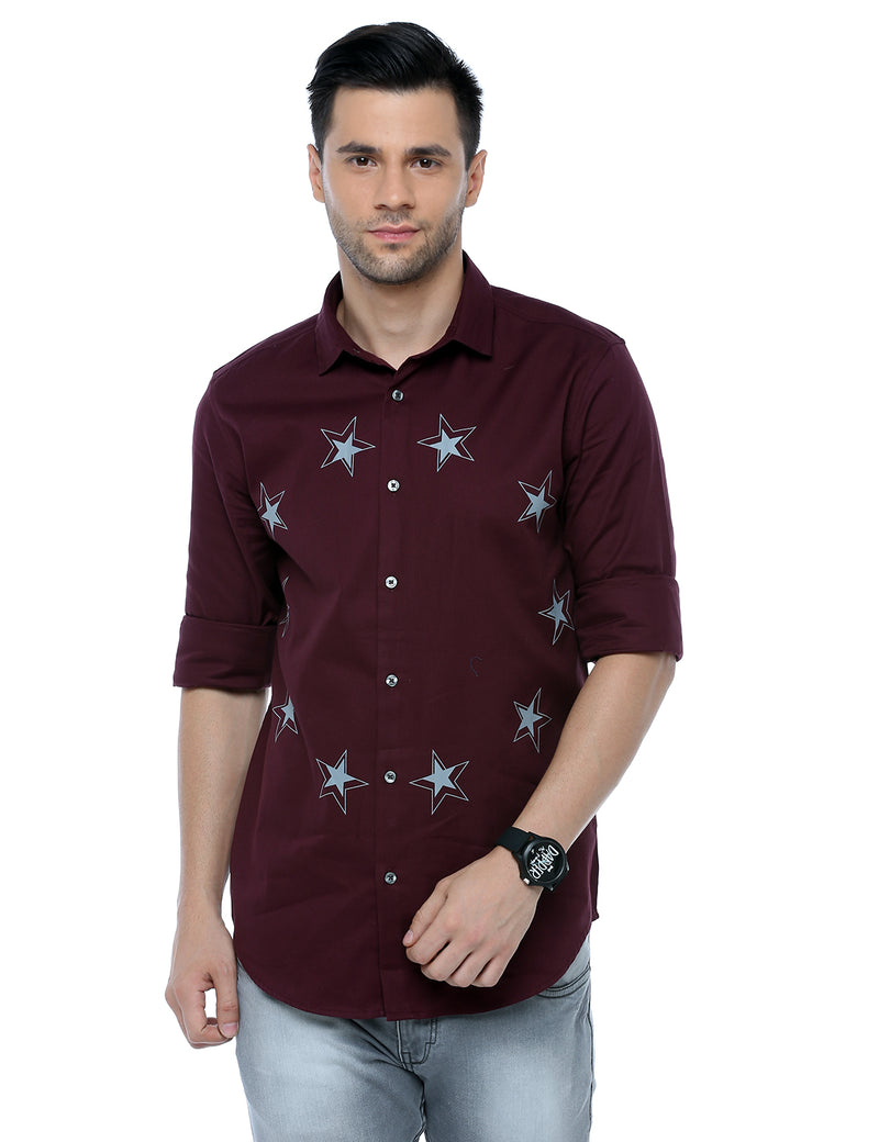 ADNOX Men's Designer Solid Casual Dobby Cotton Shirt (Maroon)