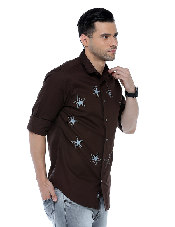 ADNOX Men's Designer Solid Casual Dobby Cotton Shirt (Brown)