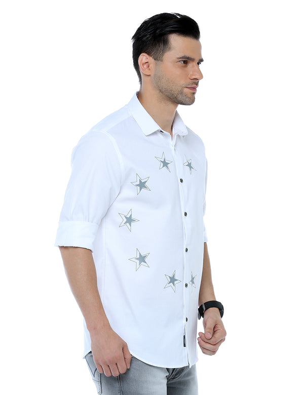 ADNOX Men's Designer Solid Casual Dobby Cotton Shirt (White)