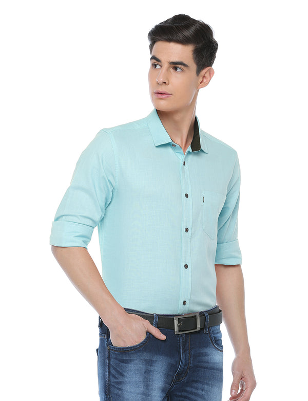 ADNOX Plain Full Sleeve Cotton Slim Fit Casual Shirt for Men