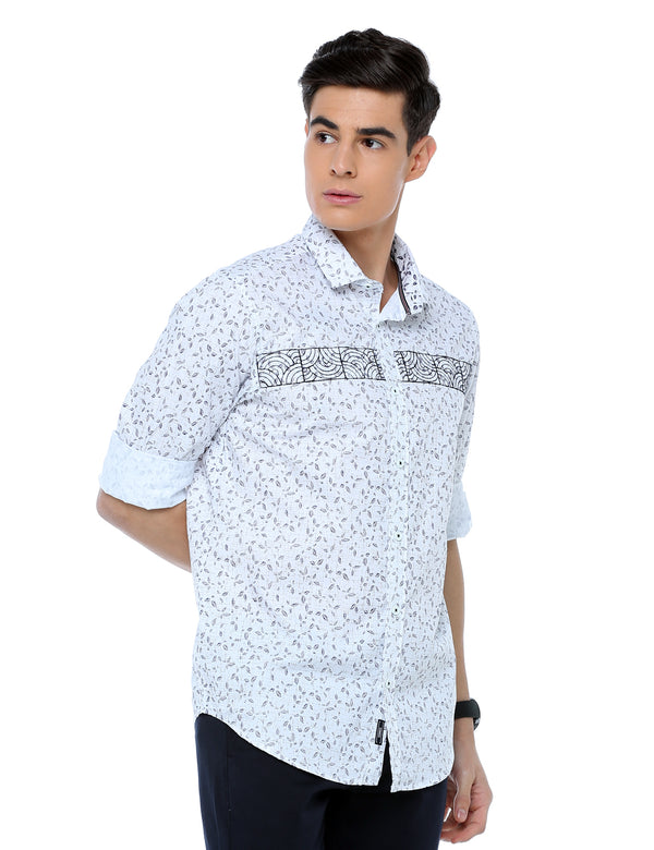 ADNOX Printed Designer Casual Full Sleeve Cotton Slim Fit Shirt for Men