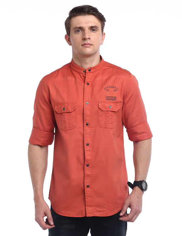 ADNOX Designer Plain Casual Twill Cotton Full Sleeve Shirt for Men (Brown Red)