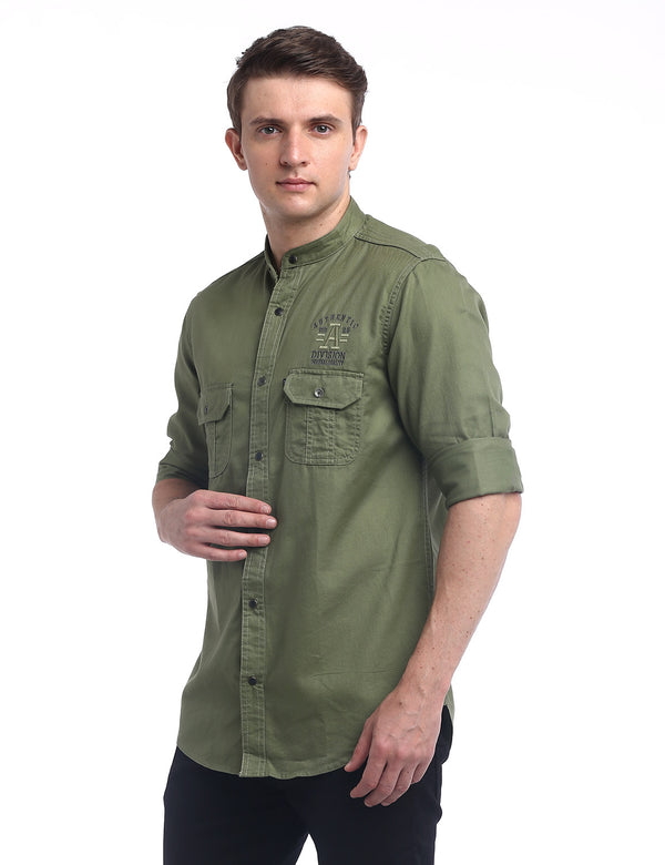 ADNOX Designer Plain Casual Twill Cotton Full Sleeve Shirt for Men (Olive Green)